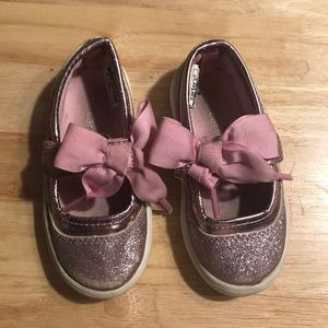 Pink glitter Velcro shoes size 6 by Carter's